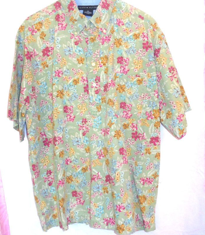 TOMMY HILFIGER Soft Sage Ladies BLOUSE Size:XL Florals in Gold/pink Cotton #TommyHilfiger #Blouse #Casualcareer