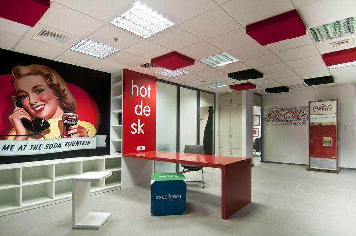 Ceiling tile color pops | Ceiling design idea | Coca Cola Hellenic headquarters by Stirixis Group Athens
