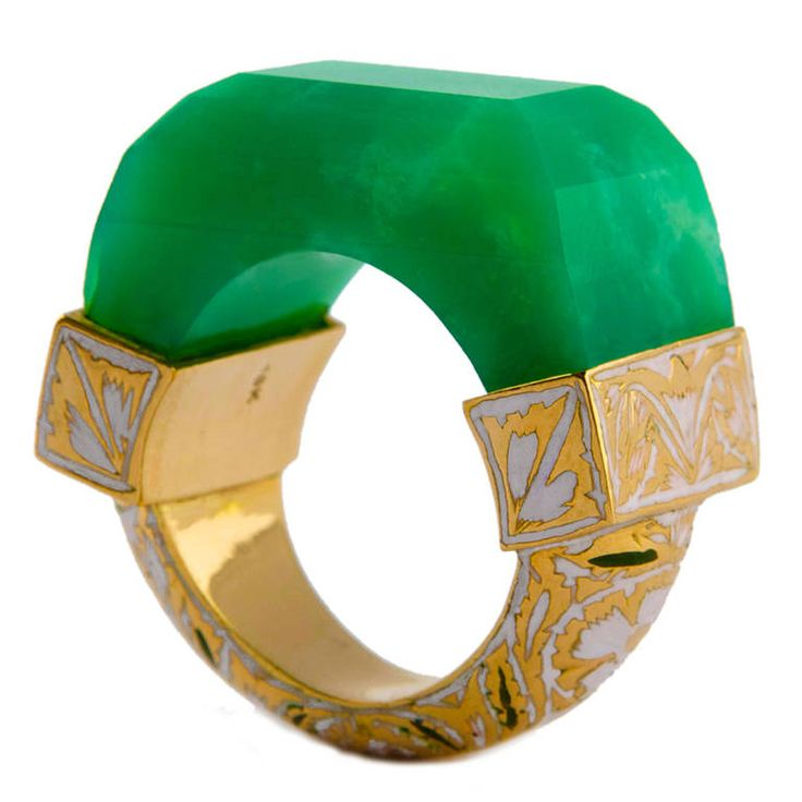 Jade Jagger NeverEnding Chrysoprase and Enamel Ring | From a unique collection of vintage more rings at https://www.1stdibs.com/jewelry/rings/more-rings/