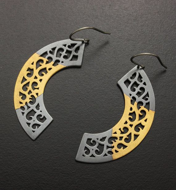 Open work arc earrings of fine gold Keum Boo on silver by KAZNESQ, $134.00