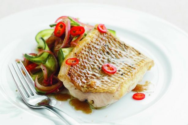 Crispy skinned snapper is made extra special when served with gourmet pickle.