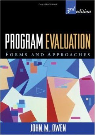 Program Evaluation Forms and Approaches (PRINT VERSION) http://biblioteca.cepal.org/record=b1252233~S0*spi Provides a conceptual and practical overview of the evaluation process in real-world educational, organizational, and social service settings. Using an issues-driven perspective, Owen helps students and practitioners compare and select from an array of evaluation approaches by providing an original conceptual framework for the major forms of evaluative inquiry