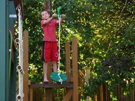 Brent and I worked on completing the Fort that he built in his backyard. The last feature of the Fort was a Zip Line. We put in the lower en...