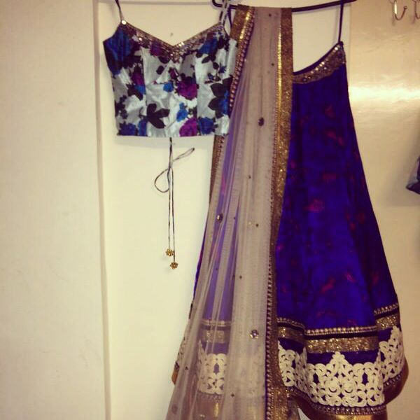 floral royal blue lehenga