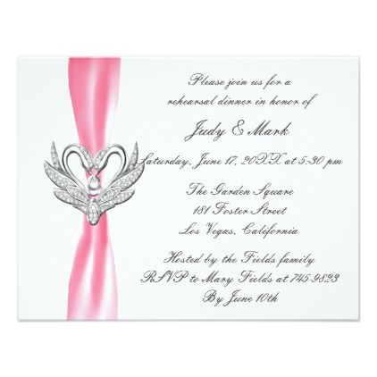 Pink Ribbon Silver Swans Rehearsal Dinner Invite - invitations custom unique diy personalize occasions