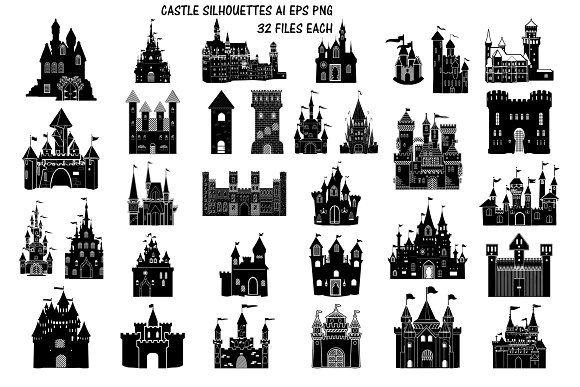 Castle Silhouettes Ai Eps Png Castle Silhouette Silhouette Vector Castle