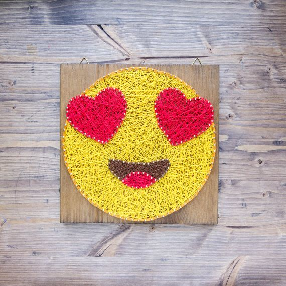 Modern and fun emoji wall art decoration in yellow valentines day gift Modern Emoji String Art Wall Decor yellow heart eye by GoodLights
