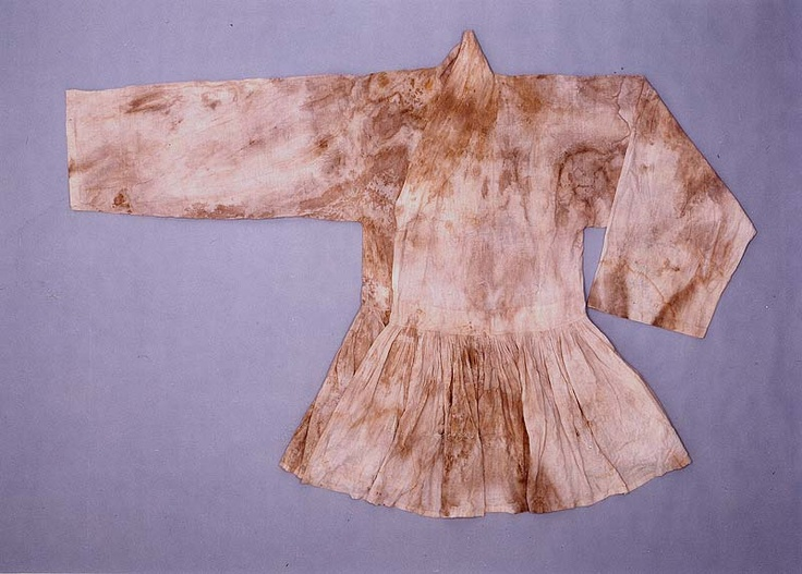"""A military officer's coat, pleated at the waist (cheollik) from the """"tomb of Go Un (1479-1530), a leading figure representing the Neo-Confucian literati based in the Honam (Jeolla) region during the mid-Joseon Dynasty.... Made of cotton, ramie and silk, the clothes appear to have been worn by Go Un while he was alive."""" Important Folklore Cultural Heritage 239."""