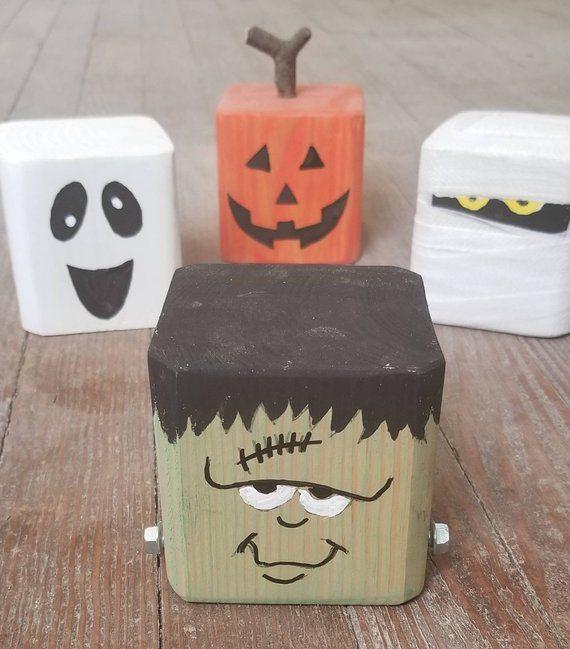 Halloween Decoration Reclaimed Wood Frankenstein, Mummy, Jack-o-lantern, Ghost Block Spooky Friends