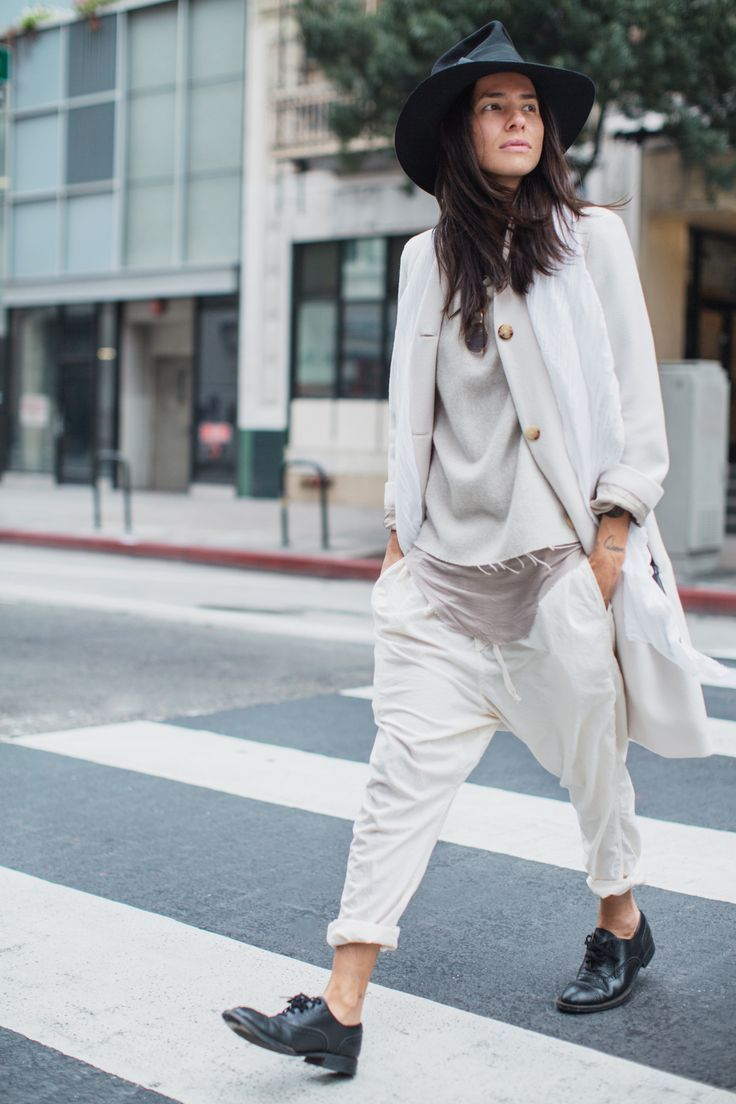 black hat, coat, raw hem top, slouchy drop crotch pants & oxfords #style #fashion #streetstyle