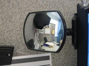 Watch your Back with a Rear View Cubicle Mirror | Cubicle Bliss | CubicleBliss.com | @CubicleBliss |  If you have never considered a rear view #cubicle #mirror before, you may want to think about it.  I did and now no one can sneak up on me and I know what's going on behind me at all times.  It's like I have eyes in the back of my head!