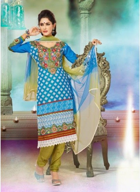 Awesome Blue, white #pakistani_suit with resham work