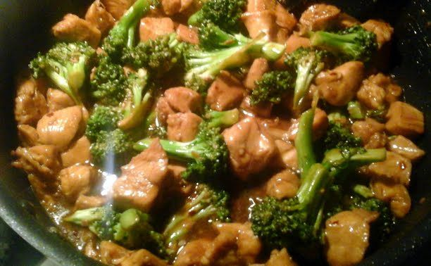 Easy Chicken w/Broccoli recipe. Yumm this recipe is delicious! I made it tonight I probably didn't have enough broccoli I added a carrot and I didn't have cornstarch for the marinade, but I don't think the recipe needs it because it thickened just fine in the end. I also didn't put the full 2 tbsp of brown sugar in the sauce and it was sweet enough.