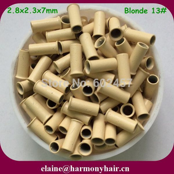 (1000pcs/lot ) 2.8x2.3x7mm Blonde Flare Copper Micro Rings for Hair extensions Copper Micro Beads Copper Micro Tubes for Hair