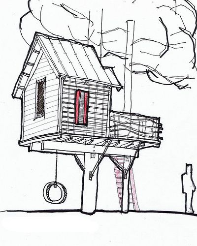 Sky Barn is a tree house designed by Channing Glover for his son and for a tree house design competition.