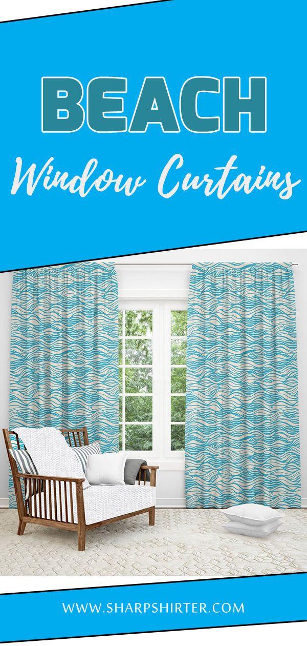 Beach Waves Window Curtain Window Curtains Curtains Window