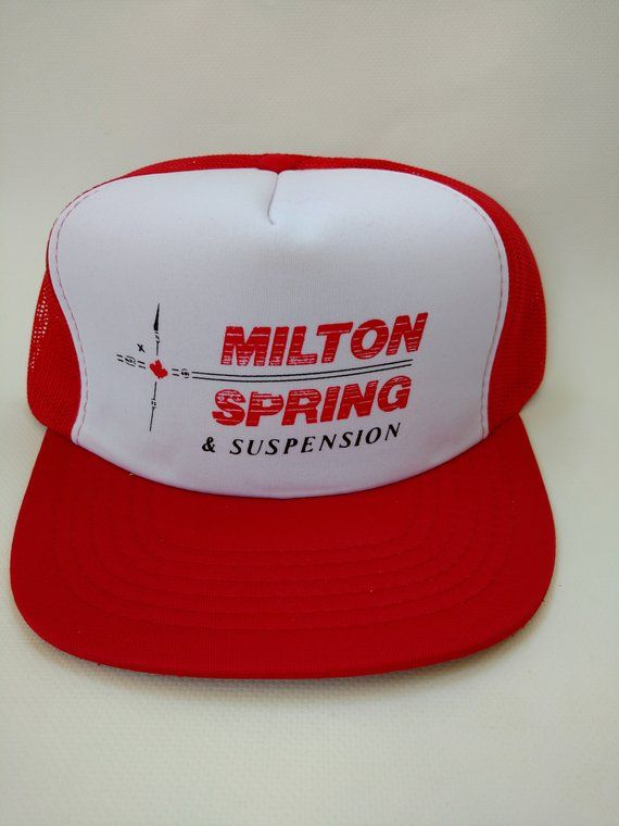 103b91c3 Milton Spring and Suspension Vintage Trucker Hat Red Mesh Snapback Retro  Truck