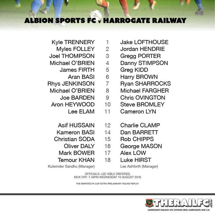 The teams for tonight's Emirate FA Cup extra preliminary round replay    @therailfc @albionsportsafc #NCEL