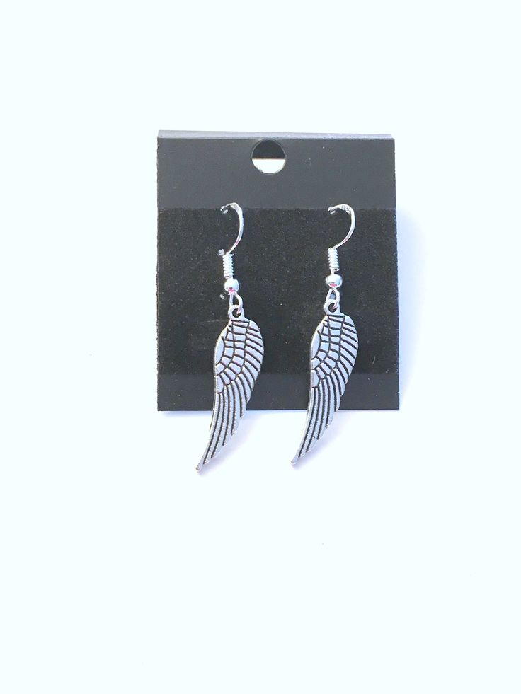 Angel Wing Earrings, Memorial Jewelry, Feather Bird Present, Long Silver Dangle Hoop Charm Sympathy Mourning Mom Sister Aunt Christmas Girl by ajoyfulsurprisegifts on Etsy