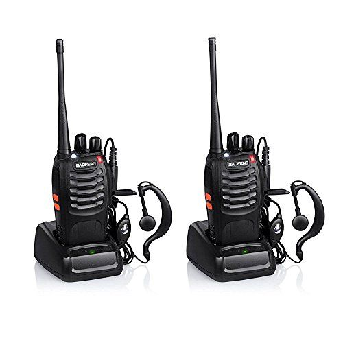 CDC� 2PCS Walkie Talkies 16CH Signal Band UHF 400-470 MHz BF-888S 5W 1500MAH Li-ion Battery Two Way Radio Rechargeable Long Range Headset Headphone Built in LED Torch with USB Plug
