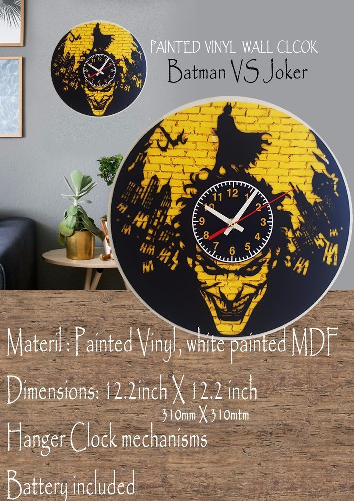 Batman VS Joker Wooden painted Vinyl clock #MDF #creativity #lasercut #TimeCraft