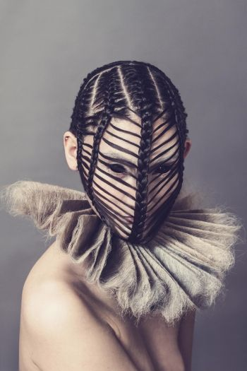 """Inspired by aristocracy, this story focused on the boundaries which we create for ourselves, using hair to define those limits""--Anna Wade on her collection, ""Ethereal."""