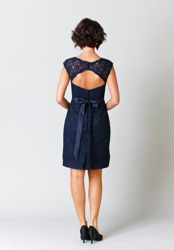 Navy blue sheath bridesmaid dress with keyhole back | Harper from Kennedy Blue Bridesmaid and Party Dresses