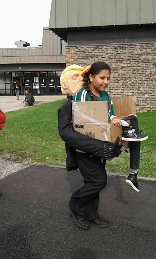 Reddit Pics quite possibly the most scary , creepy and freaky costume of halloween for a democrat , donald trump stealing your children in a box odd but brilliantly funny