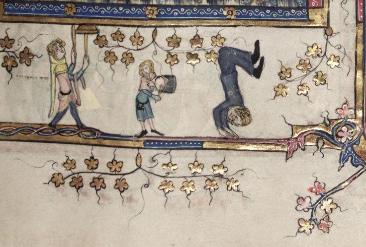 Kolme leikaria Aleksanterin elämästä kertovan romanssin marginaalissa. Vasemmalla mies pyörittää lautasta, keskellä muusikko säestää ja oikealla naisakrobaatti. 1300-luku. (Bodleian Library MS Bodley 264)