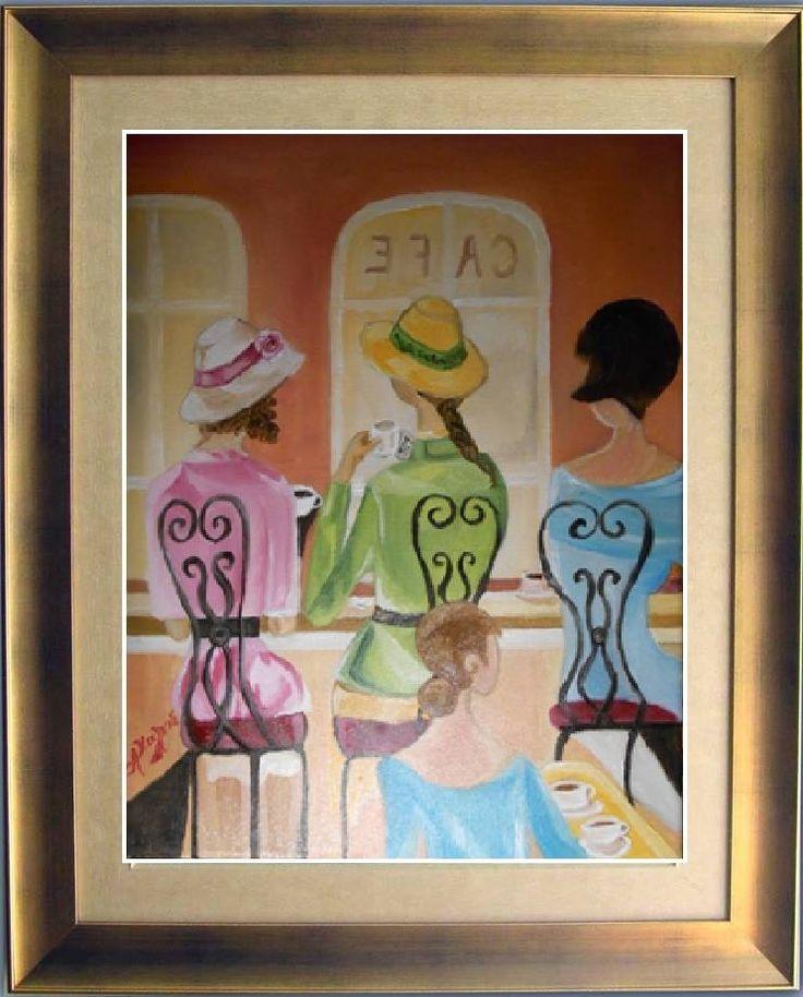 στο καφέ ..........ένα καλο μέρος για κους κους με τις φίλες ........ελαιογραφια σε μουσαμά  cm 30x40 the coffee ..........   a good place for cous cous with girlfriends ........ Oil on canvas  cm 30x40