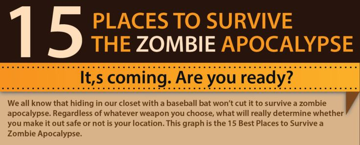 Newsflash…. Zombie Apocalypse has broken out… Where do you go when the Zombies start attacking? The folks over at Zombiegeardude.com have created this great infographic to help keep everyone safe. Which one of the 15 would you chose to take your first or final stand? To find more great zombie survival information you can also …