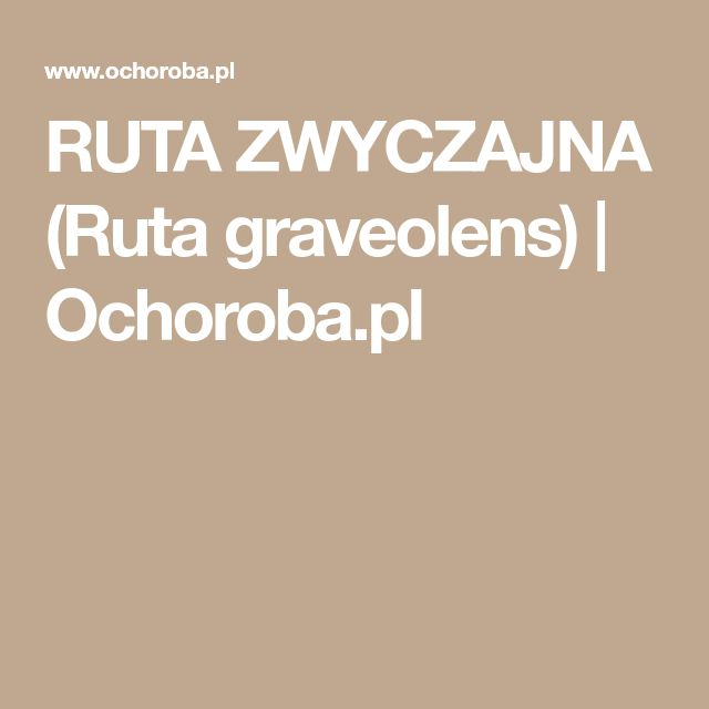 RUTA ZWYCZAJNA (Ruta graveolens)   Ochoroba.pl