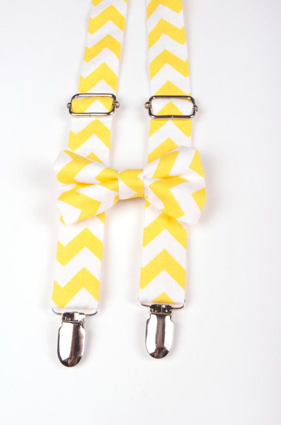 Yellow Chevron Bow Tie & Suspenders Set - Baby Toddler Child Boys  - Wedding