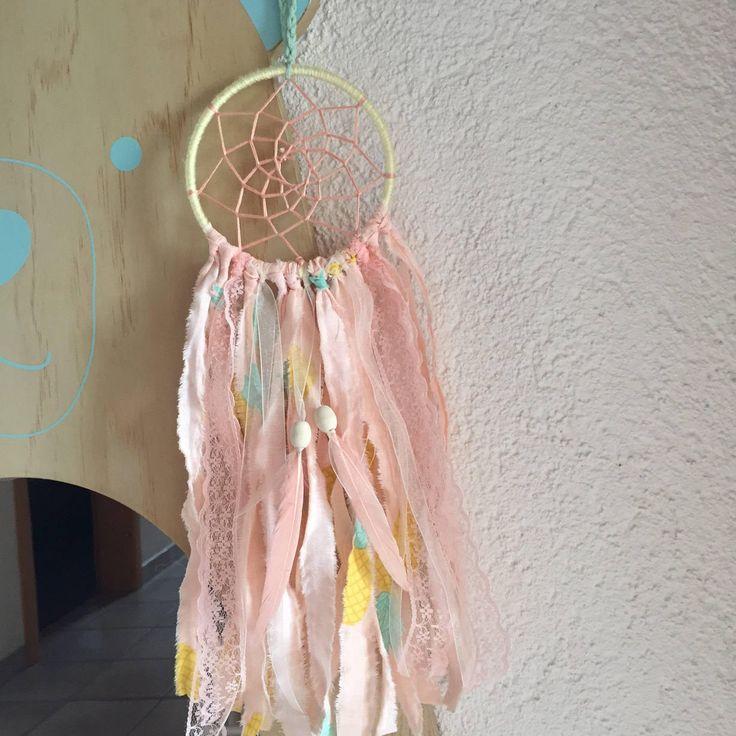 Traumfänger Kinderzimmer Ananas rosa 10 cm Spitze pineapple laces von nenanadesigns auf Etsy