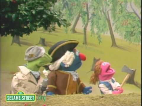 Sesame Street: Kermit News: George Washington's Father when he is cutting down the cherry trees