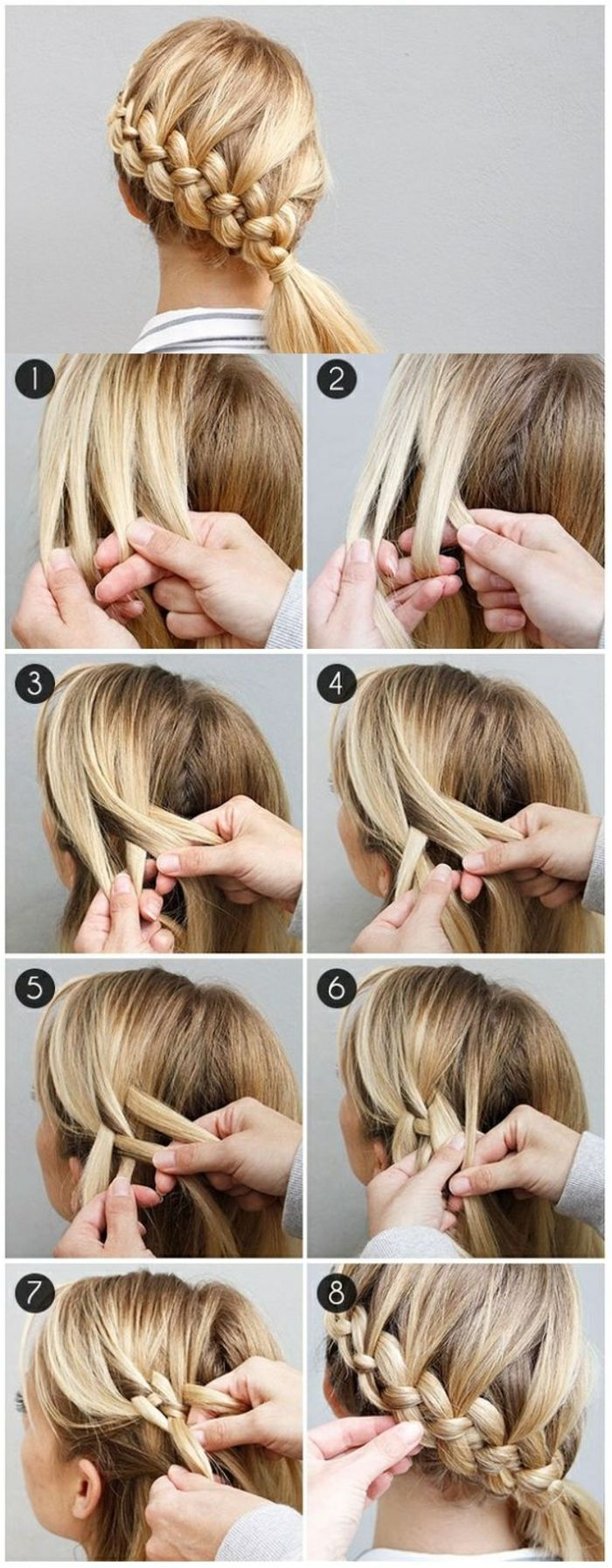 Geflochtene Frisuren selbst machen mittellange blonde Haarzöpfe – Haar