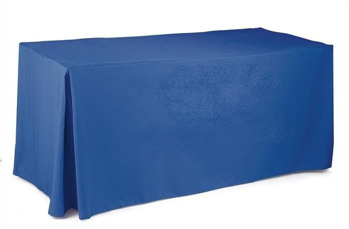 """24""""W x 60""""L x 36""""H Poly Premier Fitted Tablecloth With Pleated Corners"""
