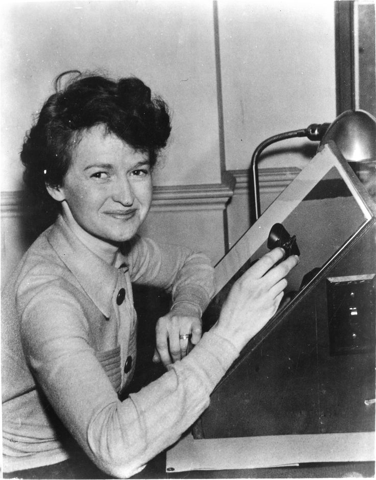 Muriel E. Mussells Seyfert at a light table. Seyfert was an astronomer at Harvard College Observatory and had just discovered three new ring nebulae in the Milky Way when this photograph was taken in March 1936.