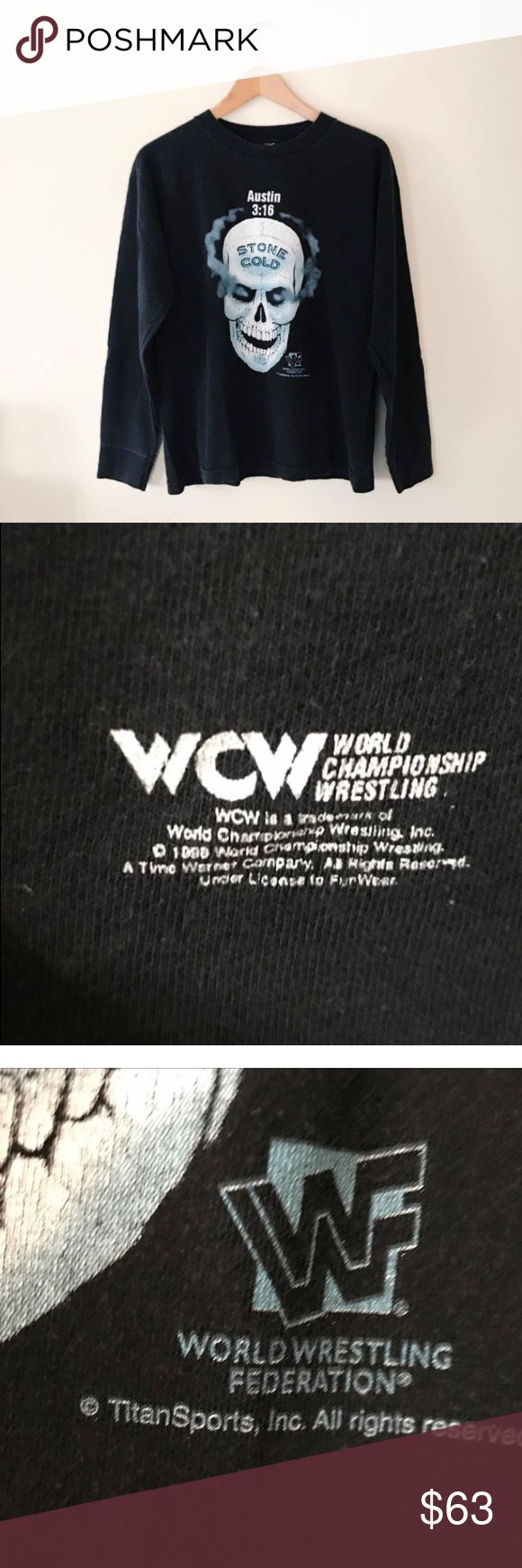 Vintage stone cold shirt Great vintage condition 90's WWF long sleeve! Size medium, it would fit small-medium. So sad to let this amazing rare shirt go but money for school is more important 😒 great shirt to even collect. As a wrestling fan it's really hard to come by long sleeve vintage wrestling shirts especially in this size and condition! For men or women 💘 WWE Tops Tees - Long Sleeve