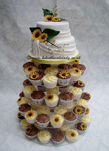sunflower wedding cupcake tower wm by Helen The Cake Lady, via Flickr