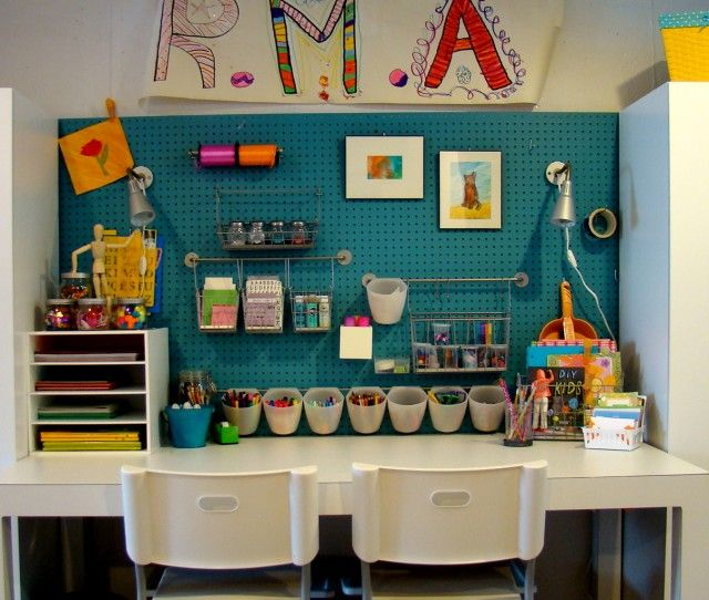 Basement organization: painted pegboard... love the color