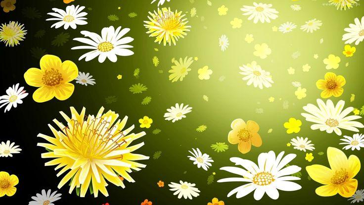 Kwiaty, Mlecze, Stokrotki, Tło, Blask