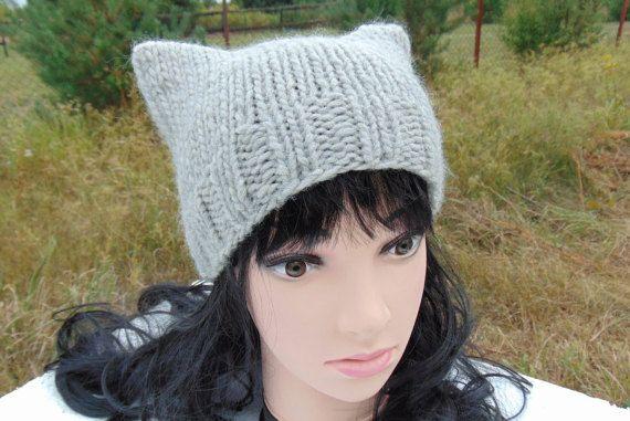 Cat Ears Beanie Knitting Knit Hat Kitty Cat Ear Hat by MaddaKnits