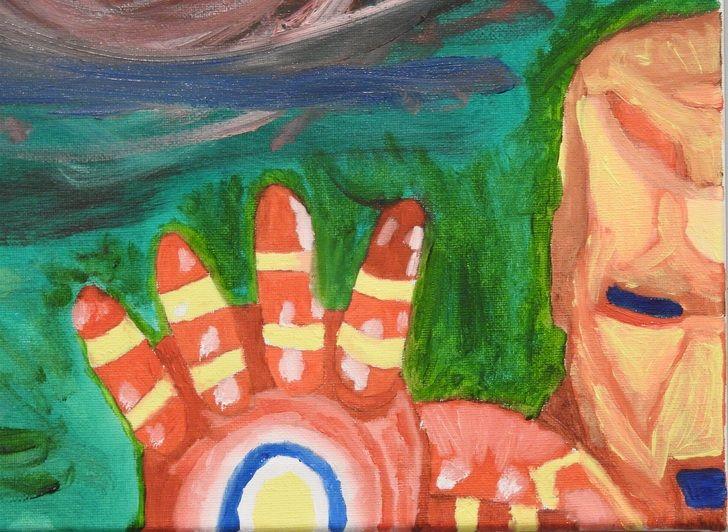 Abstract Iron Man, oil, 16x20