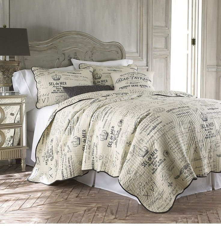 Caldwell FullQueen Quilt Set Neutral Vintage French