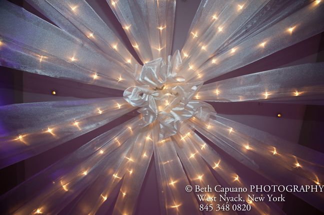 Ceiling sheer shiny fabric with tea lights for Winter Theme