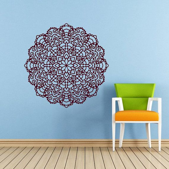 Mandala Wall Decal Namaste Flower Mandala di SuperVinylDecal