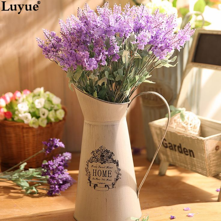 Mediterranean Style Artificial Lavender Flower Silk Weeding Flowers Home Party Decorative Lavender Bouquet