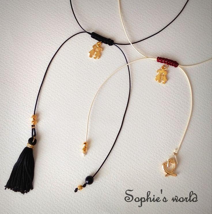 κολιε μακραμέ με επίχρυσο ζευγαράκι μαύρο κ ιβουάρ δερμ #necklace #makrame #handmade #love #tassel https://www.facebook.com/Sophies-world-712091558842001/