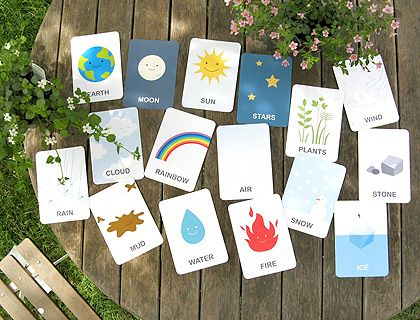 FREE Earth Vocabulary Flash Cards : This set includes 16 cards in 4 pages: water, rain, cloud, rainbow, fire, air, plants, mud, earth, sun, moon, stars, ice, snow, stone, wind. Available in English and French.